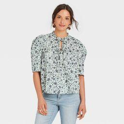 Women's Puff Short Sleeve Tie Neck Blouse - Universal Thread™ | Target