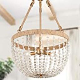 Farmhouse Chandelier for Dining Room, 17'' Boho Chandelier Light Fixture with Rustic Hemp Rope & Met | Amazon (US)