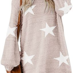 Cutiefox Women's Furry Oversized Crew Neck Pullover Sweater Mini Dress | Amazon (US)