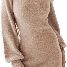 EXLURA Women's Mock Neck Ribbed Long Sleeve Bodycon Pullover Cute Mini Sweater Dress | Amazon (US)