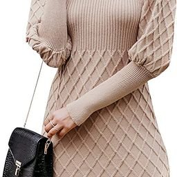 Simplee Women's Long Sleeve Bodycon Sweater Dress Cable Knit Turtleneck Sweater Dresses | Amazon (US)