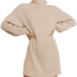 LOGENE Women's Sweater Dress Turtleneck Long Balloon Sleeve Ribbed Knit Oversized Pullover Dresse... | Amazon (US)
