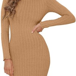 Mokoru Women's Ribbed Bodycon Club Dress Sexy Long Sleeve Mini Sweater Dresses | Amazon (US)