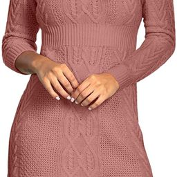 Maisolly Women's Knitted Crewneck Fit and Flare Sweater Dress | Amazon (US)