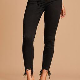 Too Trendy Black Raw Hem High Rise Skinny Jeans   Lulus (US)