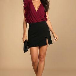 Smile Awhile Wine Red Ruffled Surplice Bodysuit   Lulus (US)
