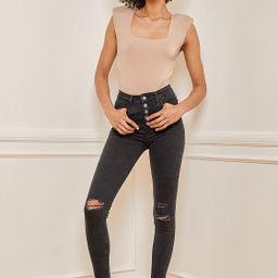 Limitless Style Beige Padded Shoulder Square Neck Bodysuit   Lulus (US)