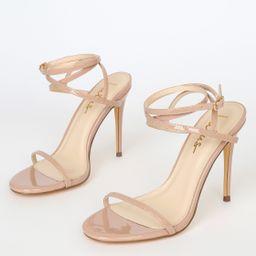 Sydd Light Nude Patent Ankle Wrap High Heel Sandals   Lulus (US)