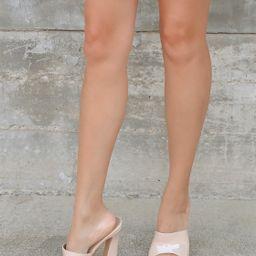 Briannah Cream Patent High Heel Slide Sandals   Lulus (US)