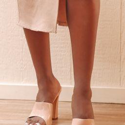 Briannah Light Nude Patent High Heel Slide Sandals   Lulus (US)