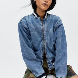 BDG Tia Denim Varsity Bomber Jacket | Urban Outfitters (US and RoW)