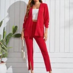 SHEIN Open Front Flap Detail Blazer & Split Hem Pants | SHEIN