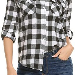 Women's Plaid Button Down Shirt Long Roll up Sleeve Blouse Casual Buffalo Top   Amazon (US)