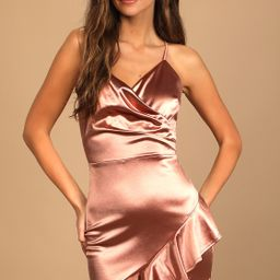 Romantic Nights Copper Satin Ruffled Bodycon Mini Dress   Lulus (US)