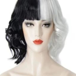 Two Tone Short Curly Wig With Bangs   SHEIN