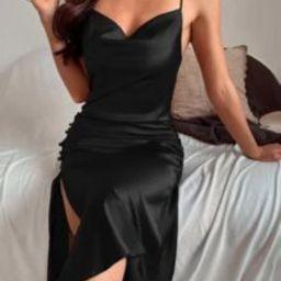 Split Side Backless Cami Dress   SHEIN