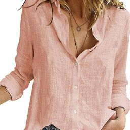 HOTAPEI Blouses for Women Casual V Neck Solid Color Womens Long Sleeve Button Down Tops Chiffon Shir | Amazon (US)