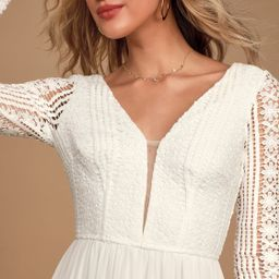 Always By My Side Ivory Lace Long Sleeve Maxi Dress   Lulus (US)