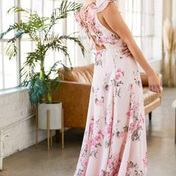 Blooms for You Blush Pink Floral Print Lace-Up Wrap Maxi Dress | Lulus (US)