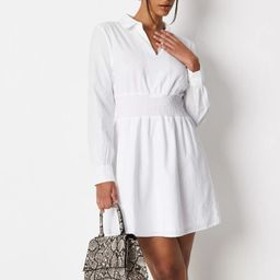 White Poplin Shirred Waist Shirt Dress | Missguided (UK & IE)