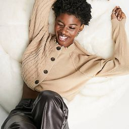 Noisy May cable knit button up cardigan in beige | ASOS | ASOS (Global)