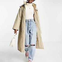 ASOS DESIGN rubberised padded rain coat in putty   ASOS   ASOS (Global)