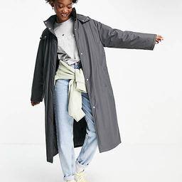 ASOS DESIGN rubberised padded rain coat in charcoal   ASOS   ASOS (Global)