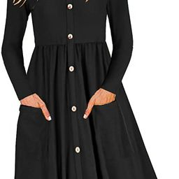 OUGES Women's V Neck Button Down Skater Dress with Pockets   Amazon (US)