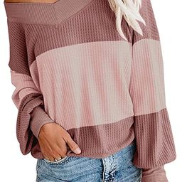 Adreamly Women's V Neck Long Sleeve Waffle Knit Top Off Shoulder Oversized Pullover Sweater   Amazon (US)