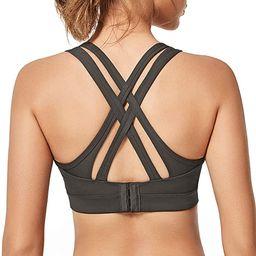 Yvette Women High Impact Sports Bras Criss Cross Back Sexy Running Bra for Plus Size   Amazon (US)