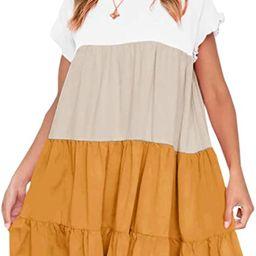 Chuanqi Womens Ruffles Boho Floral Printed Babydoll Loose Swing Casual Short Mini T-Shirt Dress   Amazon (US)