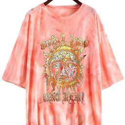 Fenxxxl Women's Short Sleeve Round Neck Oversized Shirt Graphic Tee Loose Casual Tshirt Tops   Amazon (US)