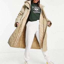 ASOS DESIGN Tall quilted double layer parka coat in stone   ASOS   ASOS (Global)