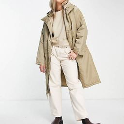 ASOS DESIGN quilted double layer parka coat in stone   ASOS   ASOS (Global)