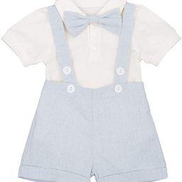Baby Boy Gentleman Formal Suit Tuxedo Bowtie Romper Suspenders Cake Smash Outfit Wedding Bib Pant... | Amazon (US)