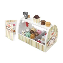 Amazon.com: Melissa & Doug Wooden Scoop and Serve Ice Cream Counter (28 pcs) - Play Food and Acce... | Amazon (US)