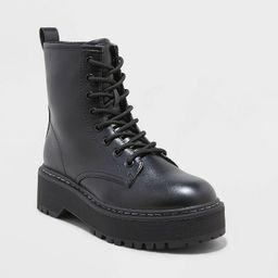 Women's Erin Lace-Up Combat Boots - Universal Thread™ Black 6 | Target