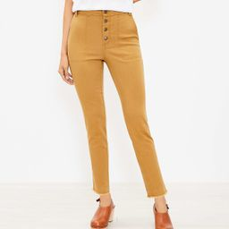 Button Front High Rise Skinny Ankle Pants   LOFT