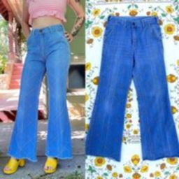 1970S Epic Windowpane Jeans Bell Bottoms Denim Patchwork By High Gear Light Mid Wash   Etsy (US)