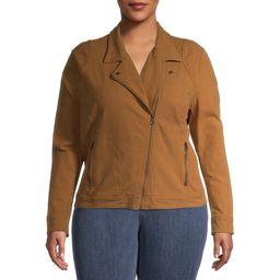 Time and Tru Women's Plus Size Casual Knit Moto Jacket | Walmart (US)