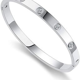 Chrishine Life Love Friendship Bracelet Bangle Gold Rose Gold Silver with Cubic Zirconia Stones S... | Amazon (US)