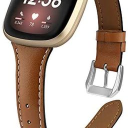 poshei Slim Leather Bands for Fitbit Versa 3 / Fitbit Sense,Top Grain Genuine Thin Leather Replac... | Amazon (US)