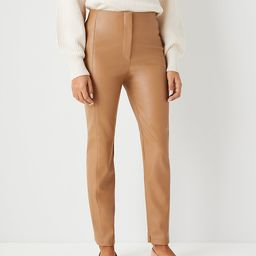 The Audrey Pant in Faux Leather, Faux Leather Pants, Tan Pants, Fall Fashion, Coatigan Outfits   Ann Taylor (US)