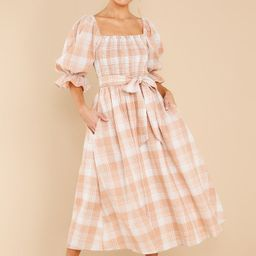 Daydreaming About Me Peach Plaid Midi Dress   Red Dress