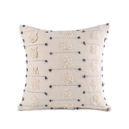 """Phantoscope Boho Woven Tufted Series Decorative Throw Pillow Cover, 18"""" x 18"""", Beige with Black D... 
