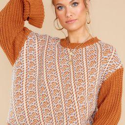 Autumn Awaits Camel Multi Sweater | Red Dress