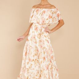 Glimmering Perfection Ivory Multi Floral Maxi Dress   Red Dress