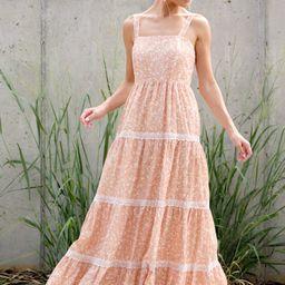 Sweet Disposition Peach Floral Print Maxi Dress   Red Dress