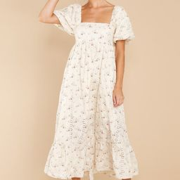 Dance It Out Ivory Floral Eyelet Midi Dress   Red Dress