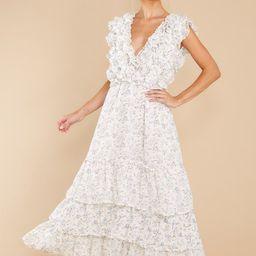 Timeless Essence White Floral Print Maxi Dress   Red Dress